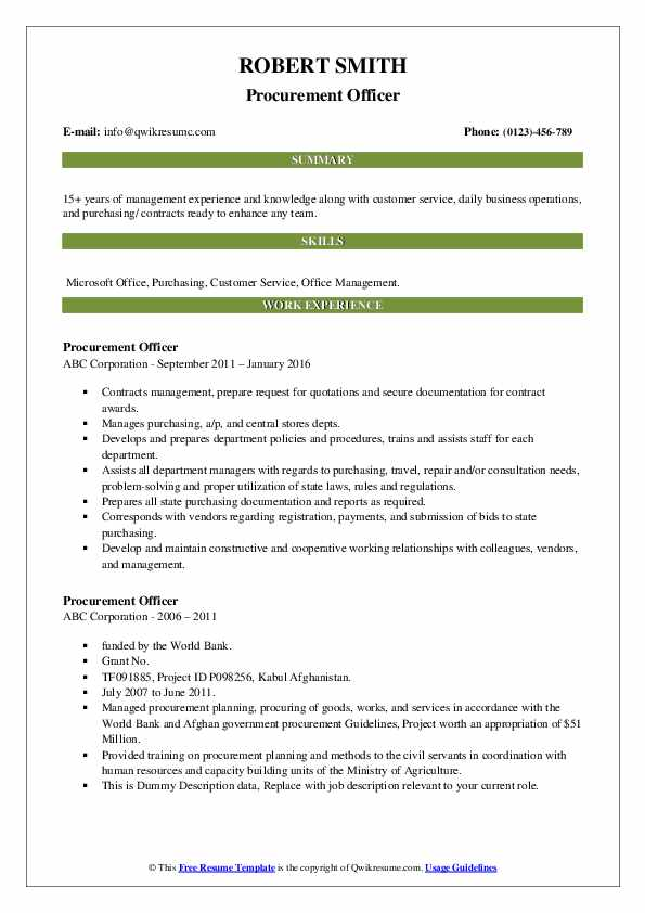 Procurement Officer Resume Samples | QwikResume