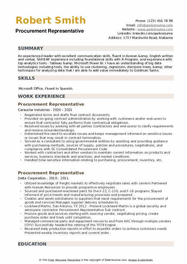 Procurement Representative Resume example