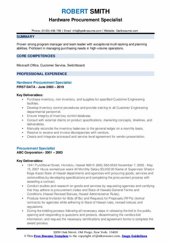 Hardware Procurement Specialist Resume Format