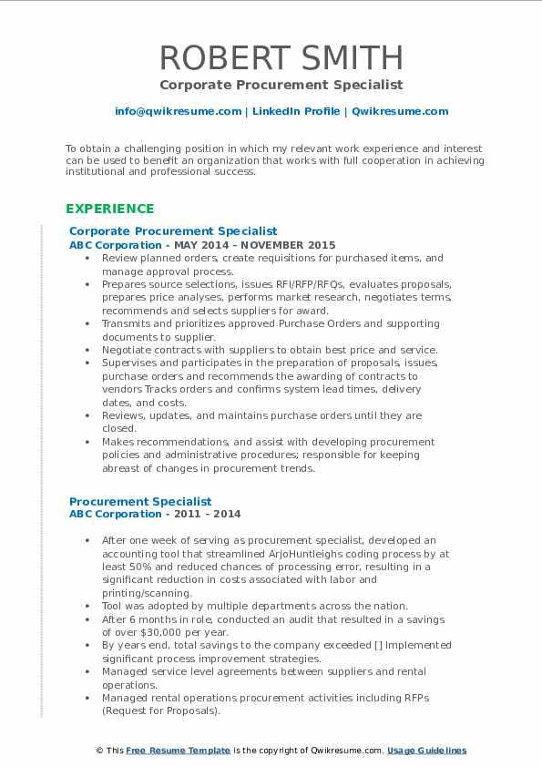 Corporate Procurement Specialist Resume Sample