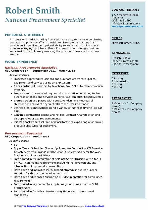 Procurement Specialist Resume Samples Qwikresume