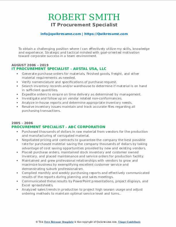 IT Procurement Specialist Resume Model
