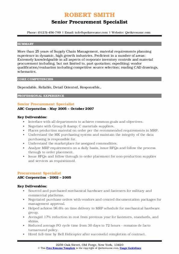 Senior Procurement Specialist Resume Model