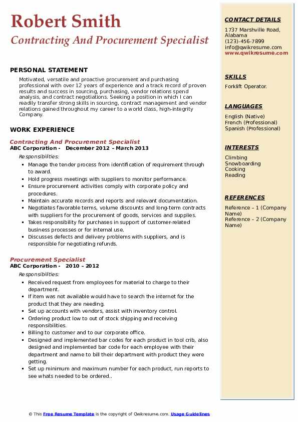 Contracting And Procurement Specialist Resume Example