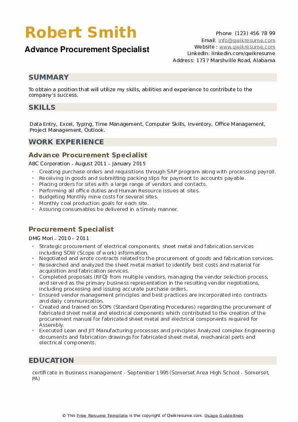 procurement specialist resume samples