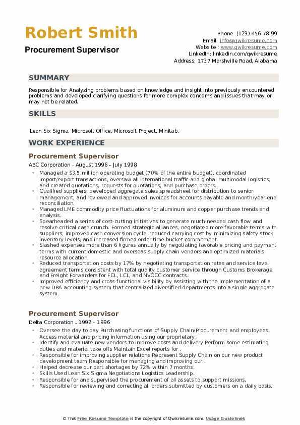 Procurement Supervisor Resume example