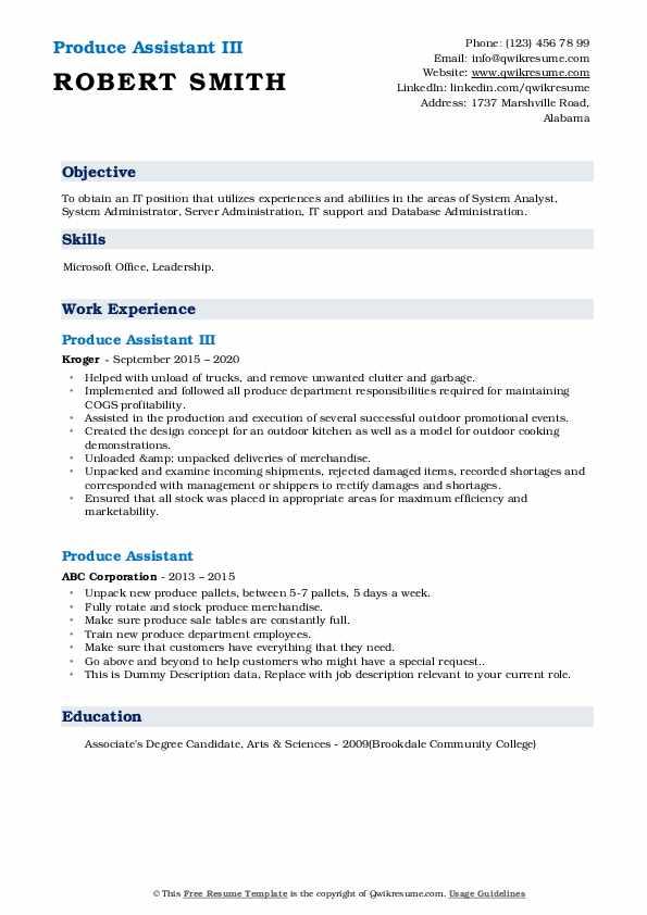 Produce Assistant Resume Samples Qwikresume