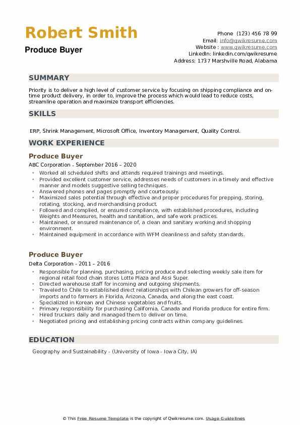 Produce Buyer Resume example