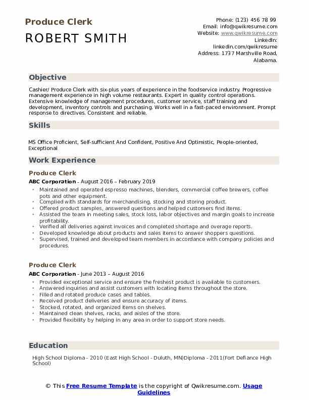Produce Clerk Resume Model