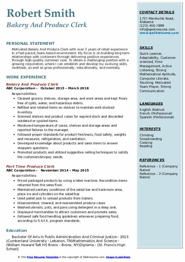 Bakery And Produce Clerk Resume Format