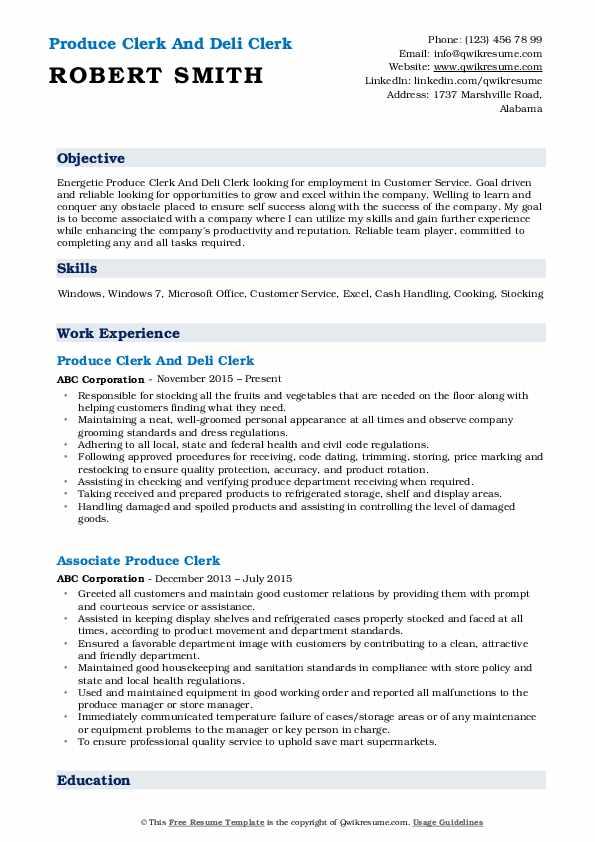 Produce Clerk And Deli Clerk Resume Example