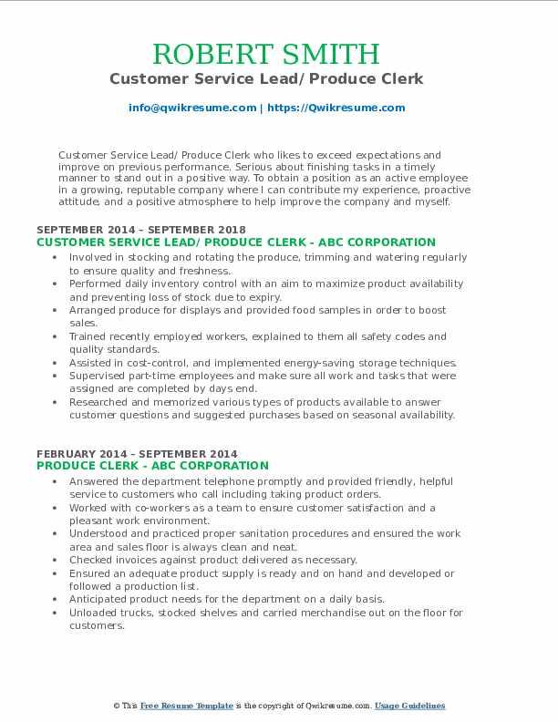 Customer Service Lead/ Produce Clerk Resume Example