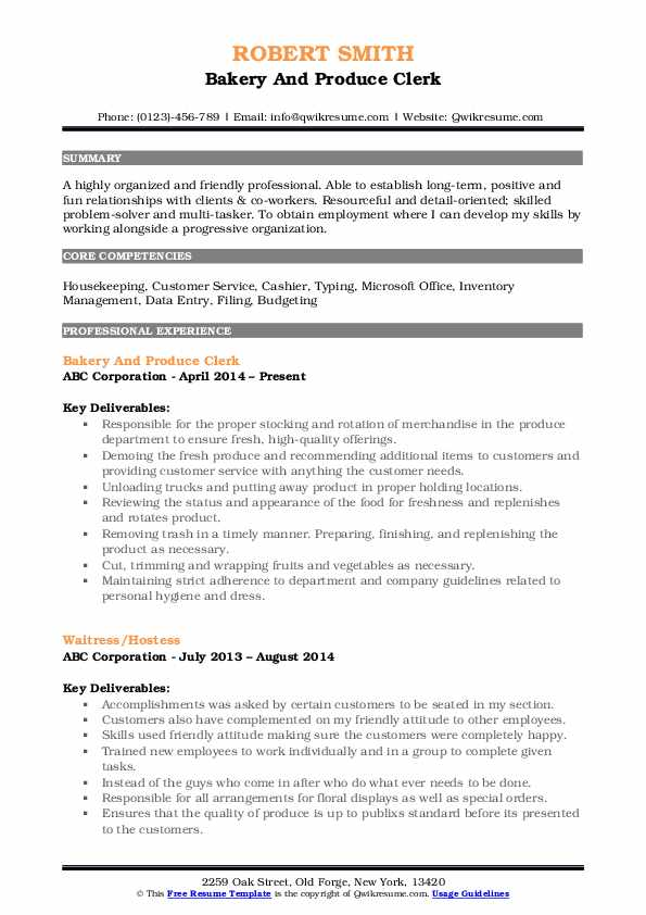 Bakery And Produce Clerk Resume Template