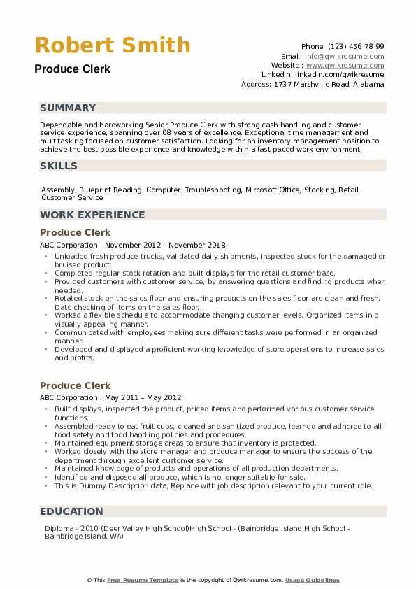 Produce Clerk Resume example