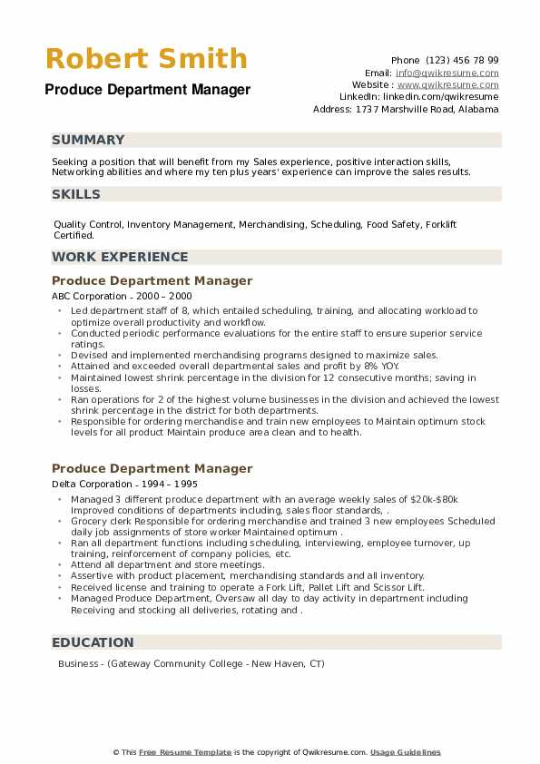 Produce Department Manager Resume example