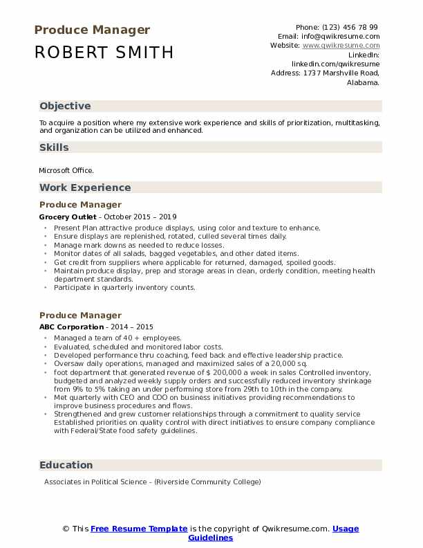 Produce Manager Resume Model