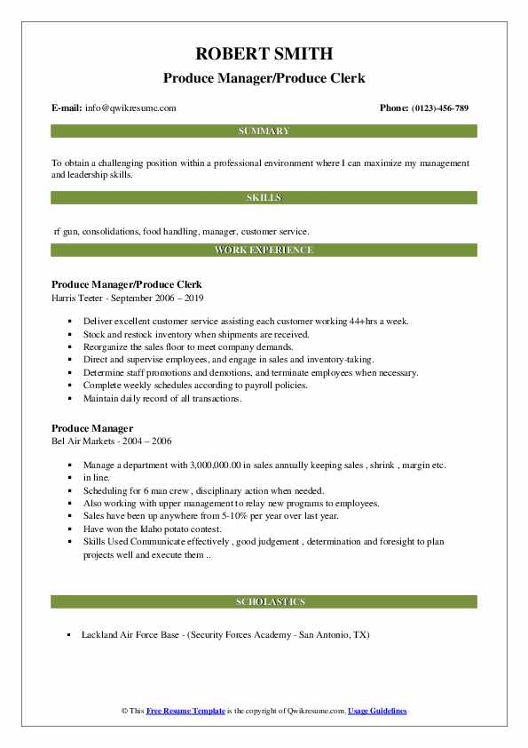 Produce Manager/Produce Clerk Resume Template