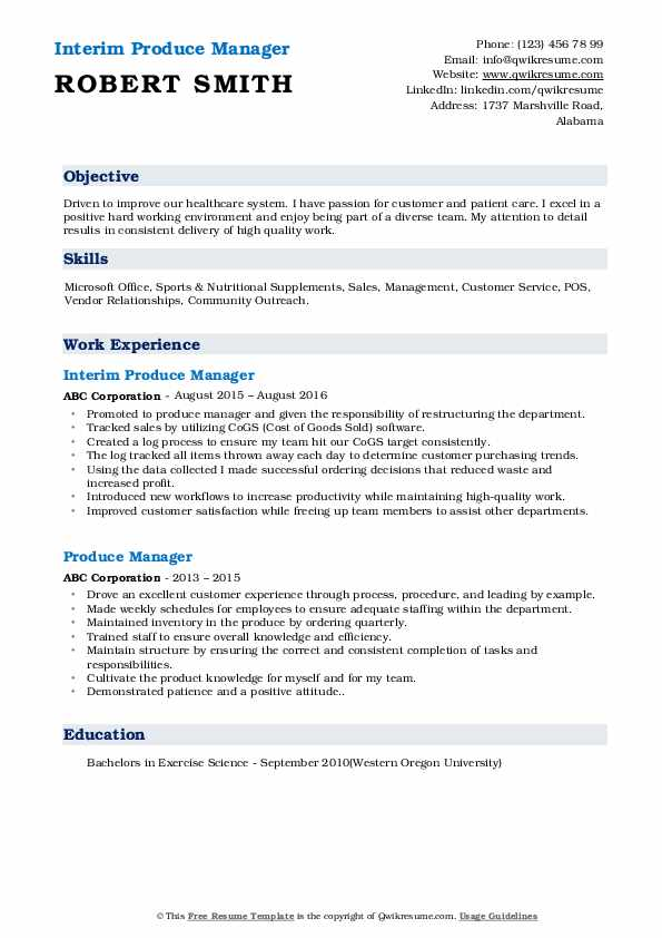 Interim Produce Manager Resume Sample