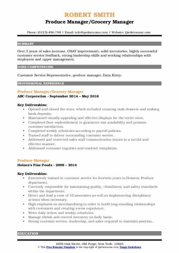 Produce Manager/Grocery Manager Resume Model