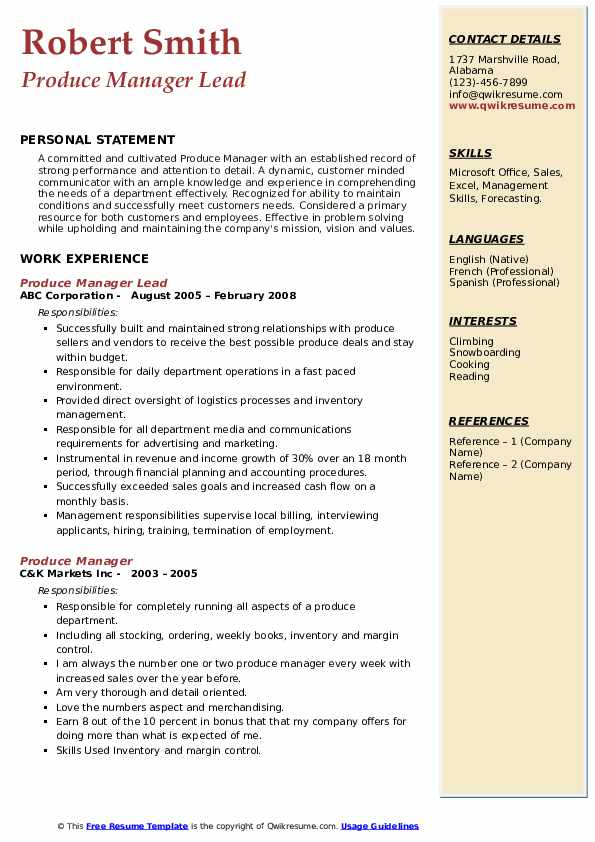 Produce Manager Lead Resume Example