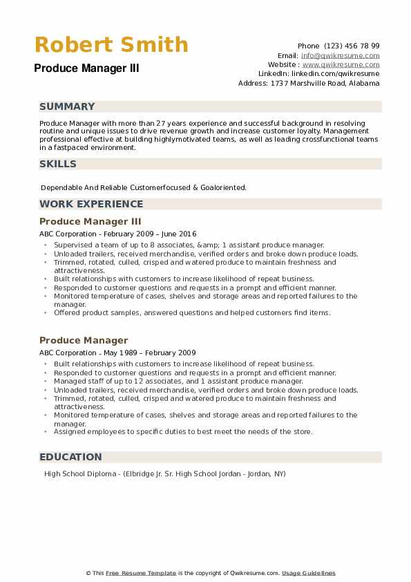 Produce Manager III Resume Model