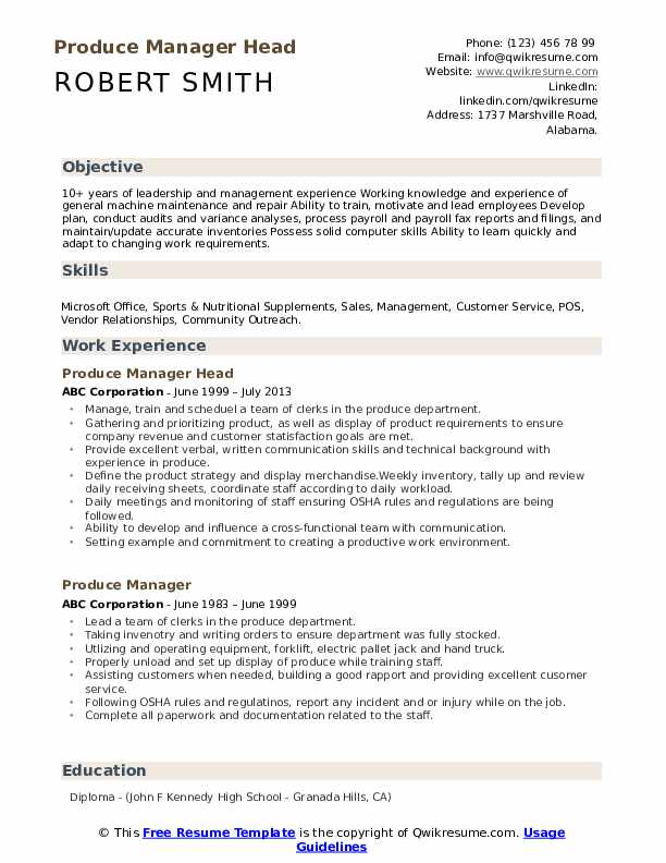 Produce Manager Head Resume Template