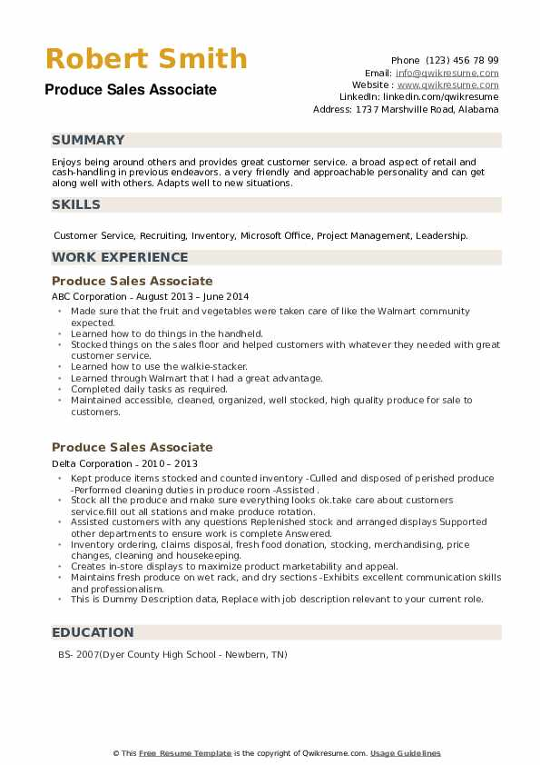 Produce Sales Associate Resume example