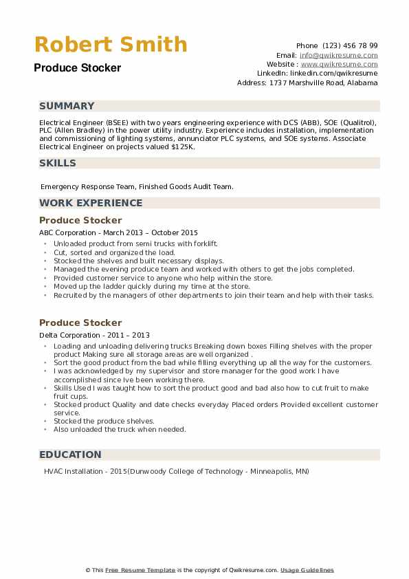Produce Stocker Resume example