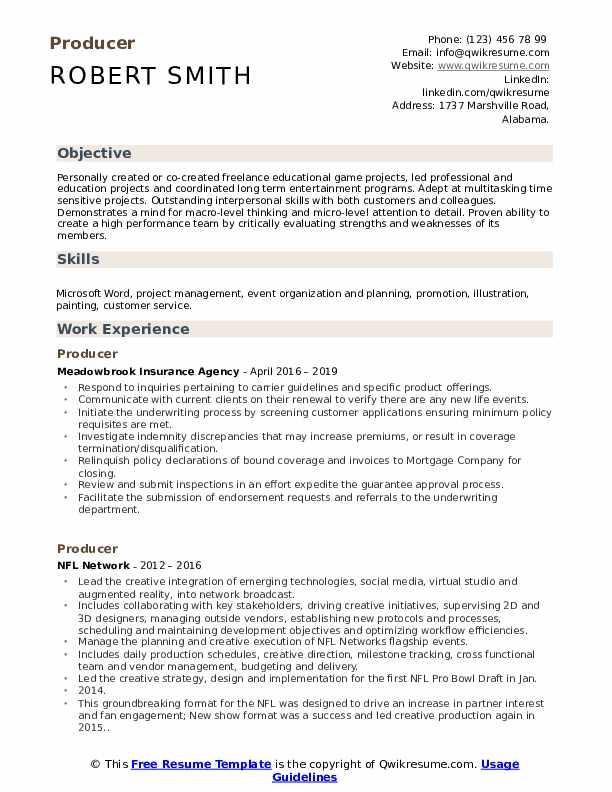 Producer Resume Format