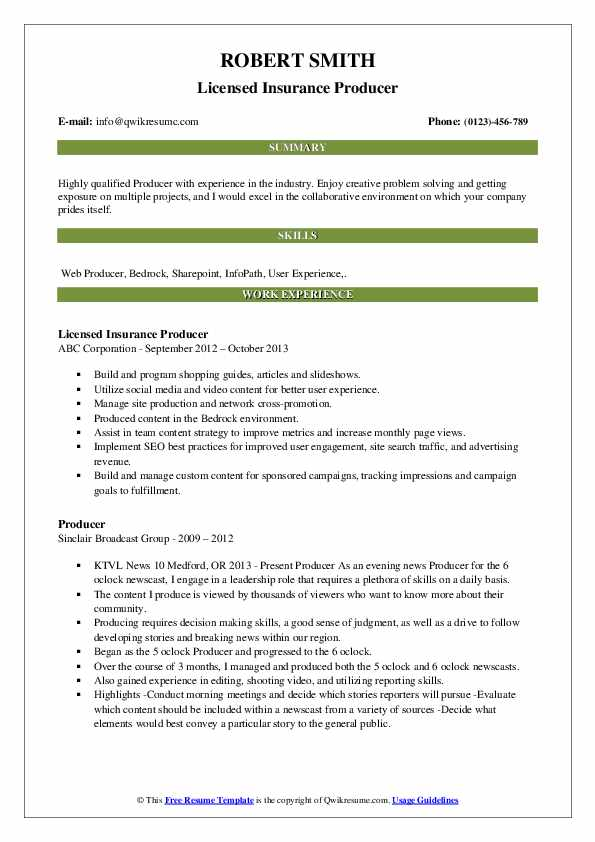 Licensed Insurance Producer Resume Example