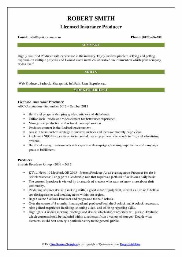 Licensed Insurance Producer Resume Model