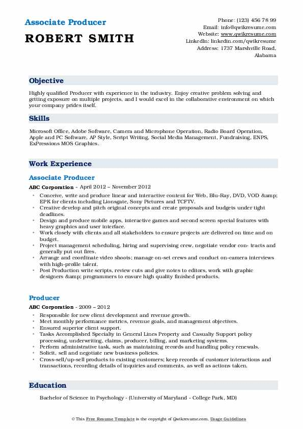 Associate Producer Resume Format