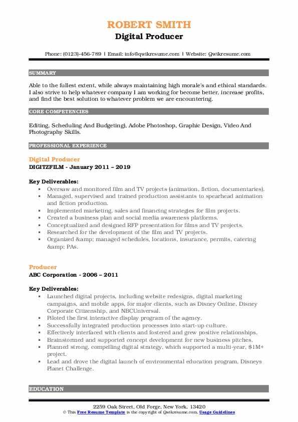 Digital Producer Resume Format