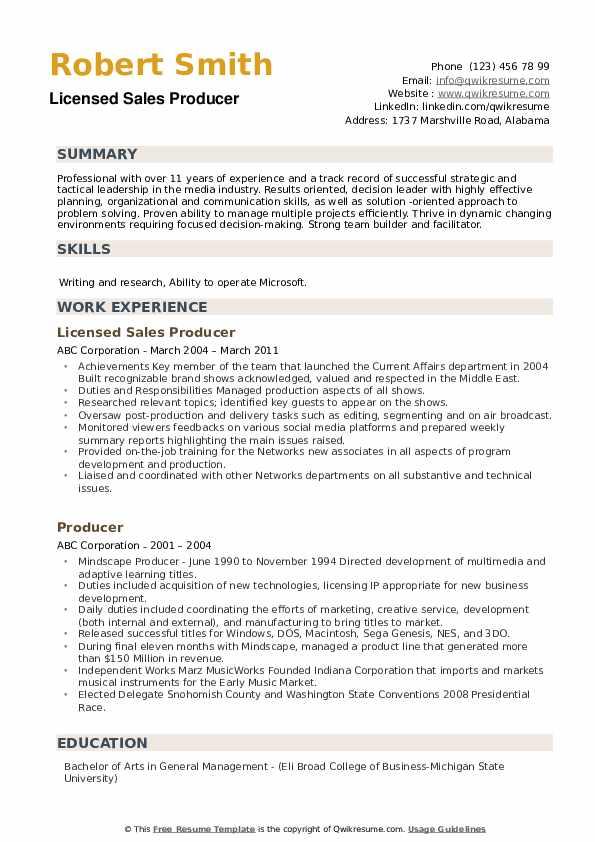 Licensed Sales Producer  Resume Model