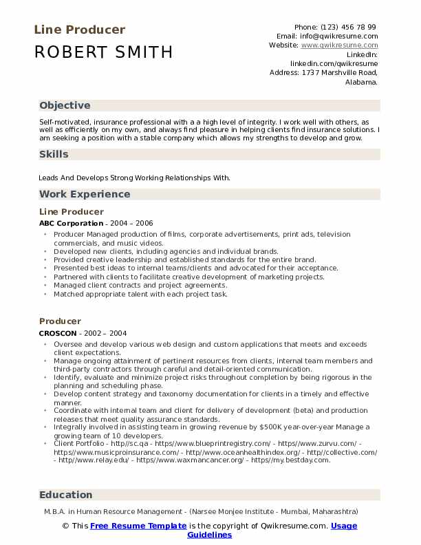 Line Producer Resume Template