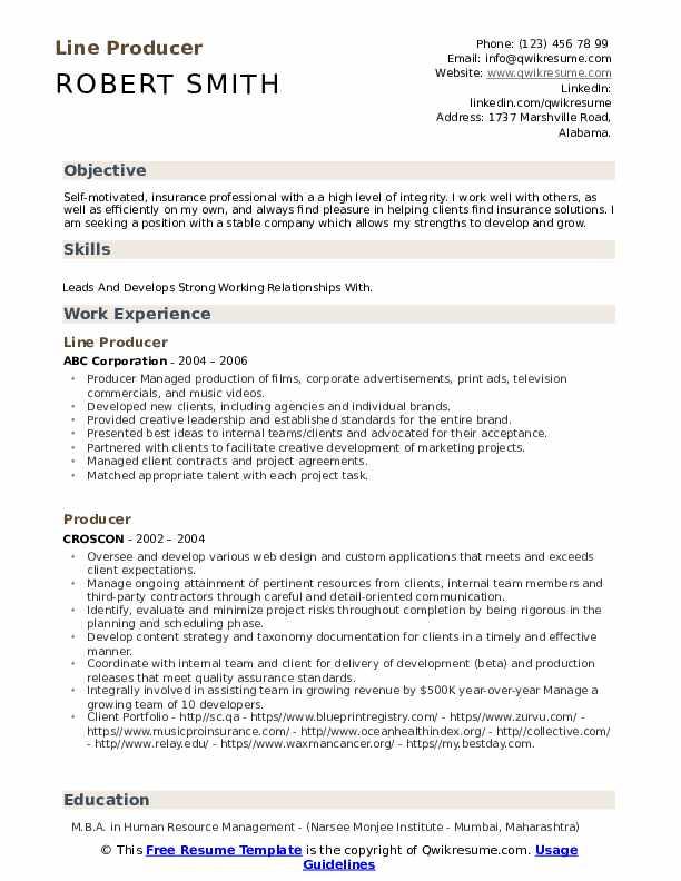 Line Producer Resume Model