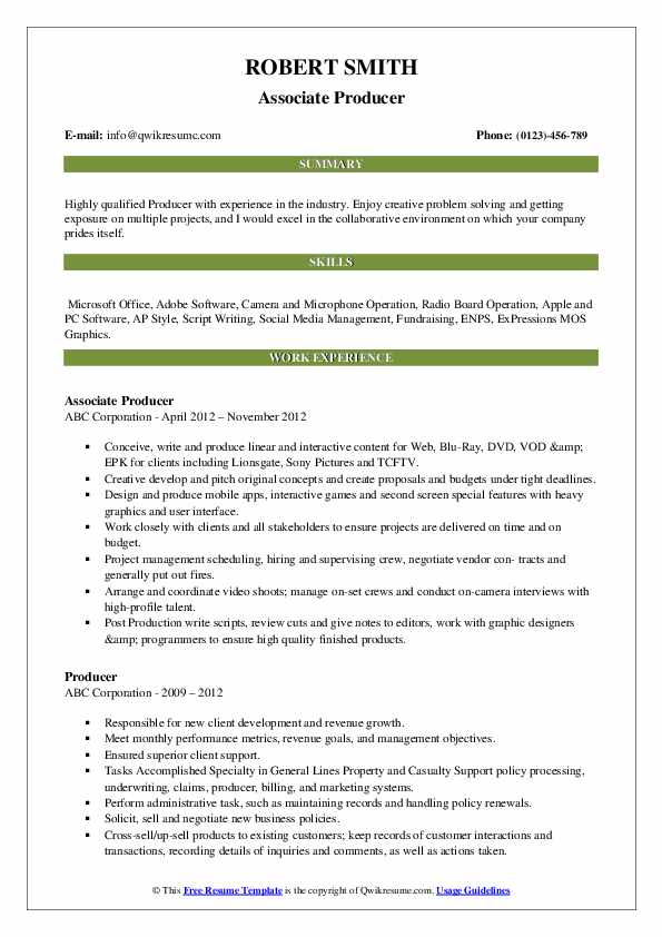 Sr. Executive Producer Resume Format