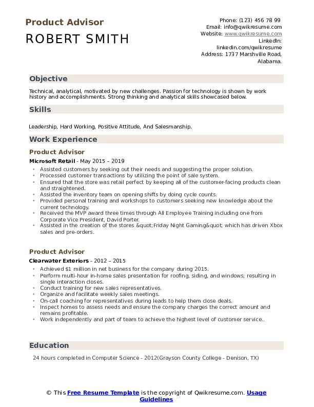 Product Advisor Resume example