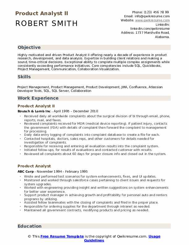 Product Analyst II Resume Model