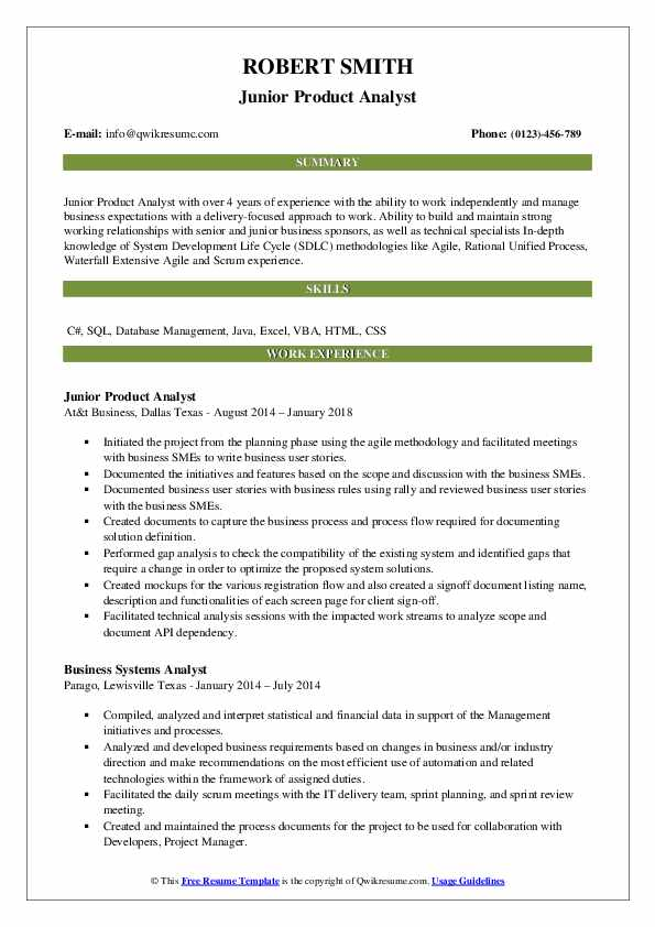 product analyst resume samples