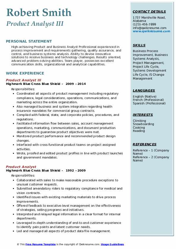 Product Analyst III Resume Template
