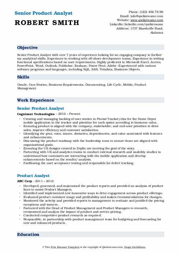 Senior Product Analyst Resume Sample