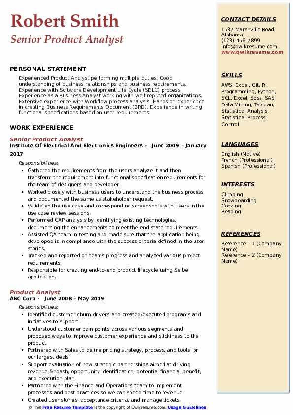 Senior Product Analyst Resume Model
