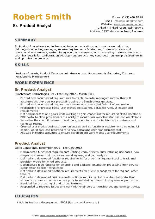 Product Analyst Resume example