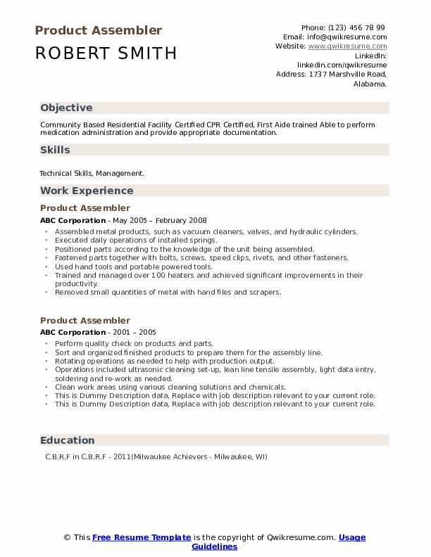 Product Assembler Resume example