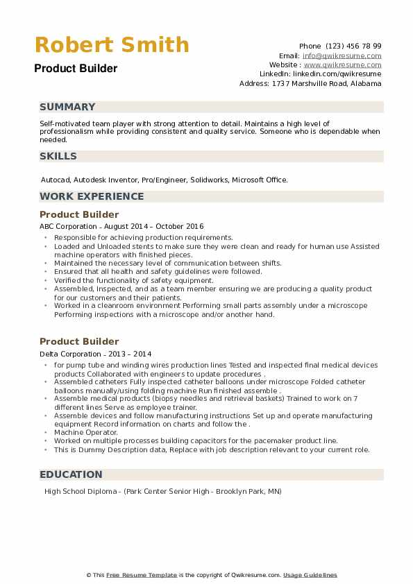 Product Builder Resume example