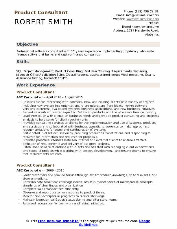 Product Consultant Resume Example