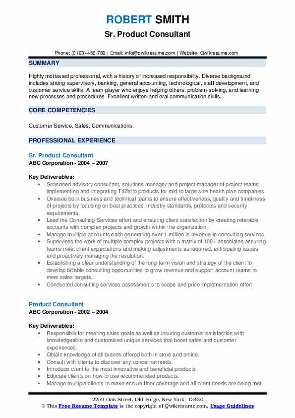 Sr. Product Consultant Resume Model