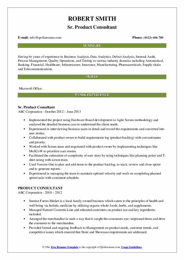 Sr. Product Consultant Resume Sample
