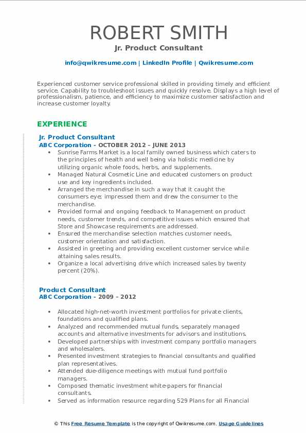 Jr. Product Consultant Resume Model